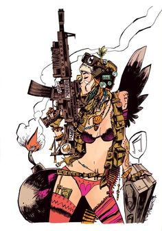 Tank Girl. I'm almost positive this is by Jamie Hewlett, but of course the person who posted it couldn't be bothered to source the fucking artist.  Via FuckYeahNerdPr0n.tumblr.com