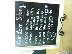 """""""Our love story"""" for sign in table at a wedding"""