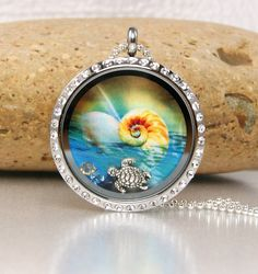 Memory Floating Charm Locket Necklace  Beach by katinn on Etsy, $35.00