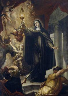 Arredondo, Isidoro - Santa Clara ahuyentando a los infieles con la Eucaristía, 1693. Prado Museum.