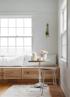 restored by the fords: exclusive. / sfgirlbybay wood built-in bench seating and white bead board wal Ford Interior, Interior Design, Bead Board Walls, Window Benches, Window Seats, Cozy Kitchen, Kitchen Nook Bench, Built In Bench, Dining Nook