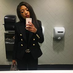 Balmain Blazer - Gucci Belt - Balmain blazer outfit - blazer outfit ideas - how to wear gucci belt - diorbag - all black outfit Balmain Blazer Outfits, All Black Outfit, Lady, Style Inspiration, Fashion Outfits, Photo And Video, My Style, How To Wear, Jackets