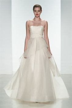"Amsale Spring 2015 ""Hailee"" gown. Silk organza pink strapless gown with layered organza skirt. #ballgown"