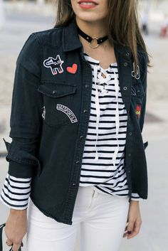 Jacket: tumblr black denim patch patched denim top stripes striped top choker necklace black choker