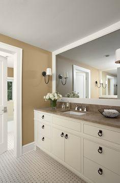 Large framed mirror in basement washroom.   Basement Bathrooms Design Ideas, Pictures, Remodel and Decor