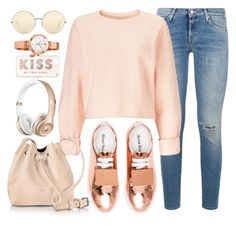 """""""Copper Hint"""" by monmondefou ❤ liked on Polyvore featuring 7 For All Mankind, Miss Selfridge, Acne Studios, Kate Spade, Lancaster, Juicy Couture, Victoria Beckham, Pink and copper"""