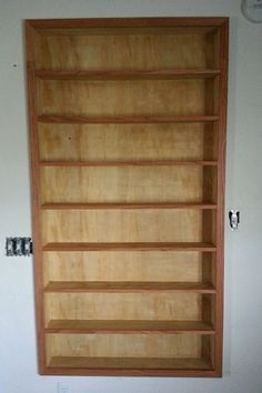 DVD shelves built into wall