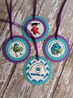 Monsters Inc. Tags Monster Inc Birthday by MerryMakersPapier, $9.00