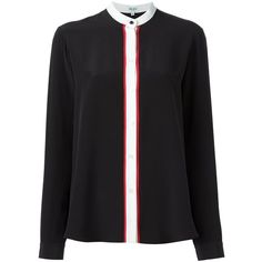 Kenzo Two-Coloured Shirt With Buttons (11,580 PHP) ❤ liked on Polyvore featuring tops, blouses, black, loose tops, shirt blouse, kenzo shirt, loose long sleeve tops and loose long sleeve shirt