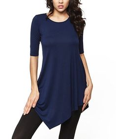 Love this Navy Asymmetrical-Hem Tunic by 42POPS on #zulily! #zulilyfinds