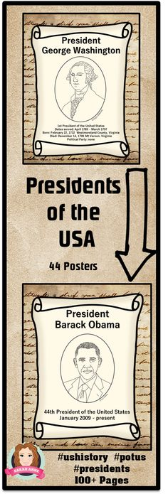 Presidents of the USA Poster Set - Includes all Presidents of the United States.  Bundle  45 Posters - Each poster includes:  Image,  Dates served; Presidential Number,   Birth, Death, Political Party. Preview includes free Obama Poster.   Color posters to hang in your classroom or print  for flashcards.  Prints  in black and white too. #POTUS #President #USA #patriotic #presidentsday #obama #Lincoln #georgewashington #ushistory #posters #socialstudies