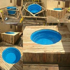 Pallet Swimming Pool - The Best Pallet Furniture And DIY Ideas. A DIY pallet swimming pool that is perfect for any backyard. Piscina Diy, Outdoor Projects, Pallet Projects, Diy Projects, Outdoor Decor, Diy Pallet, Pallet Wood, Diy Swimming Pool, Diy Pool