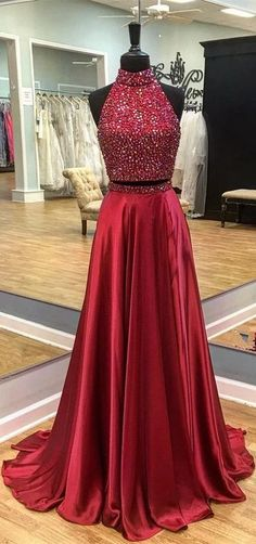 sexy prom evening dress, halter evening dress,two pieces party dress A skirt with beads around the neck - sexy prom evening dress, halter evening dress,two pieces party dress – shuiruyan Source by - Prom Party Dresses, Birthday Dresses, Party Gowns, Homecoming Dresses, Dress Party, Graduation Dresses, Party Skirt, Formal Dresses For Teens, Trendy Dresses