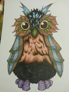 An owl i made for my Sister. Promarkers. A3 paper