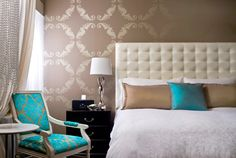 LOVE the wallpaper and the pop of teal!