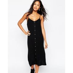 ASOS Cami Dress With Button Front ($35) ❤ liked on Polyvore featuring dresses, black, black dress, rayon dress, black jersey, asos dresses and black camisole