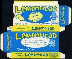 Ferrara Pan - Lemonhead -look for this seal- candy box - Vintage Food Labels, Vintage Packaging, Vintage Branding, Retro Candy, Vintage Candy, Vintage Paper, Lemonhead Candy, Ferrara Pan, Penny Candy