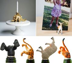 Dollar Store plastic animals bottle stoppers.