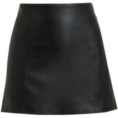 T BY ALEXANDER WANG Black Leather Miniskirt (2.085 RON) ❤ liked on Polyvore featuring skirts, mini skirts, bottoms, saias, faldas, genuine leather skirt, leather skirts, leather miniskirt, t by alexander wang skirt and short leather skirt