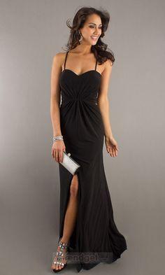 Modest Sheath / Column Straps Floor-length Chiffon Black Military Ball Dresses - $117.99 - Trendget.com