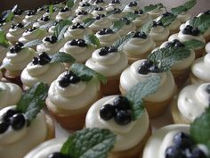 Lemon cupcakes with cream cheese frosting, fruit and mint leaves.