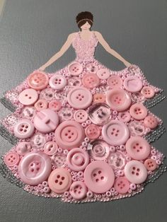 "Diy Crafts - ""Button Princess Pretty and Pink"" created by Esther Hall at LoveMyWalls on Etsy Creative Artwork, Creative Crafts, Diy And Crafts, Craft Projects, Crafts For Kids, Arts And Crafts, Paper Crafts, Rock Crafts, Fall Crafts"