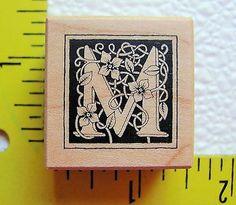 PSX Initial M Florentine Monogram Botanical Vines Flowers Wm Rubber Stamp B 2025   eBay