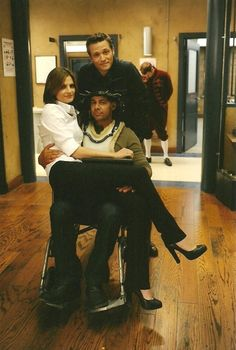 """While it is on the set of her tv show Castle - it proves that Stana Katic would sit and fit wonderfully on my lap - a full time wheelchair user! Carve it on a tree """"Larry adores Stana"""""""