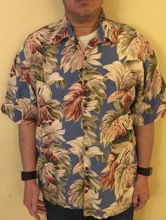 Hawaiian Tiki Shirt Reyn Spooner Men's XXL Rayon Linen Leaf Print Made in Hawaii #ReynSpooner #Hawaiian