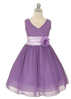 Lilac Chiffon Flower Girl Dress