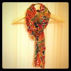 I just discovered this while shopping on Poshmark: Multi-colored scarf w/ raw edge. Check it out! Price: $13 Size: OS