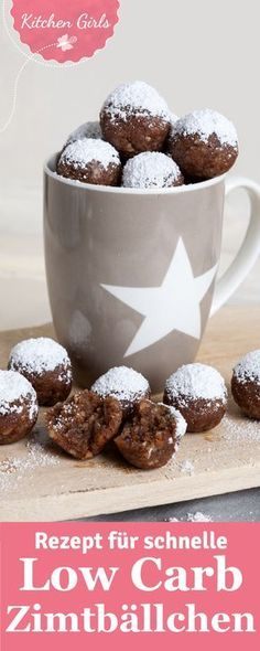 Healthy snacking is big on the trend, so why not try our recipe for low car . Gesund Naschen ist groß im Trend, deshalb solltest du unser Rezept für Low Car… Healthy snacking is big on the trend, so try our recipe for low carb cinnamon balls! Low Carb Sweets, Low Carb Desserts, Healthy Desserts, Low Carb Recipes, Quick Recipes, Paleo Dessert, Janta Low Carb, Law Carb, Desserts Sains