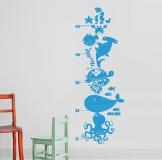 Ocean Friends - Under the Sea Growth Chart Vinyl Wall Decal for Nursery, Kids, Children