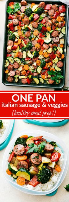 Skip the rice and carrot, and you got a great low carb meal!!  ONE PAN Healthy Italian Sausage & Veggies! Easy and delicious! Great MEAL PREP OPTION! via chelseasmessyapron.com