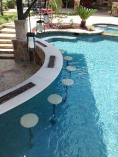 33 Mega-Impressive swim-up pool bars built for entertaining - Traumhaus Luxury Swimming Pools, Luxury Pools, Swimming Pools Backyard, Swimming Pool Designs, Pool Landscaping, Lap Pools, Dream Pools, Pool Decks, Landscaping Design