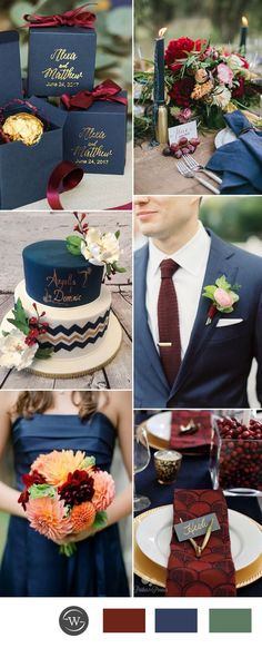 navy blue and burgundy wedding color ideas for 2017 trends Burgundy Wedding Colors, Red Wedding Flowers, Maroon Wedding, Fall Wedding, Dream Wedding, Red Flowers, Wedding Bouquets, Wedding Colours, 2017 Wedding