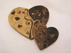 Pyrography Wood Burned Hearts Two Valentine Hearts.