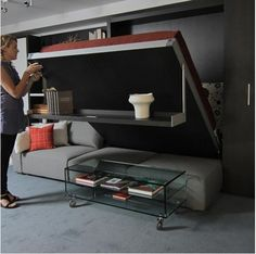 storage / Murphy Bed Not a bad idea for bedroom...fold up bed, have chairs left underneath. Would be useful for relaxing and for guests, when too many for living room