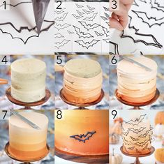 A photo showing steps on how to assemble a orange ombre cake with edible bats all over it. A photo showing steps on how to assemble a orange ombre cake with edible bats all over it. Bolo Halloween, Recetas Halloween, Halloween Baking, Halloween Tags, Halloween Desserts, Halloween Party, Halloween Birthday Cakes, Pear And Almond Cake, Hazelnut Cake
