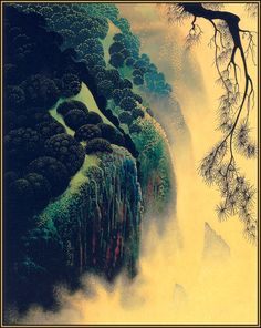 """Jeweled Coast"" by Eyvind Earle.  Completion Date: 1976.  Place of Creation: United States.  Style: Magic Realism."