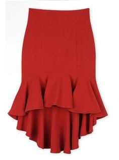 Irregular hem packet hip fishtail mid-length skirt