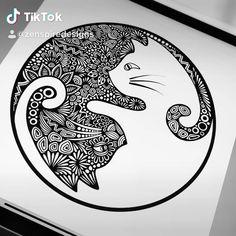 Do you see it? ⚫️🐱⚪️ Yin Yang cat waterproof sticker available now! - Do you see it? ⚫️🐱⚪️ Yin Yang cat waterproof sticker available now! Pen Art, Art Drawings, Drawings, Mandala Design Art, Zentangle Drawings, Doodle Art Drawing, Sticker Art, Art, Pattern Art