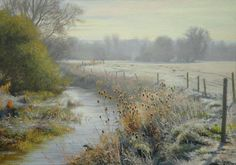 """Teasels in frost"" (2011) [Sold] By Peter Barker, from Banbury, Oxfordrshire, England (current location, South Luffenham, England) - oil on board; 12 x 17 in - http://www.peterbarkerpaintings.co.uk/ https://www.facebook.com/PeterBarkerARSMA"