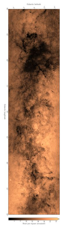 This new map shows the density of objects within our Milky Way galaxy. It's a small section of a larger map, but it shows in exquisite detail the complex patterns of obscuration in the galaxy, due to interstellar dust. Image via Hywel Farnhill, University of Hertfordshire. http://www.ras.org.uk/news-and-press/2507-219-million-stars