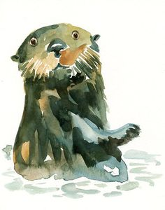 watercolor otter! How sweet is this?!