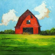 Landscape Barn painting 173 inch original oil painting by Roz Abstract Landscape, Landscape Paintings, Barn Paintings, Acrylic Paintings, Red Barn Painting, Wine And Canvas, Solis, Barn Art, Red Barns