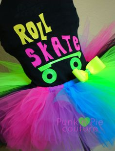 80's Neon Roller Skate Tutu Birthday Party Set by punknpiecouture