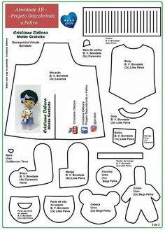 New sewing toys people Ideas Felt Doll Patterns, Fabric Doll Pattern, Doll Dress Patterns, Plush Pattern, Fabric Dolls, Stuffed Toys Patterns, Pattern Sewing, Doll Crafts, Diy Doll