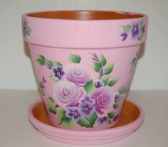 """Purple Roses / Purple flowers"" clay flower pot."
