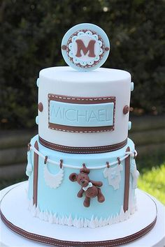 Brown & Blue Baby Boy Clothesline and Teddy Bear Cake (Michael)